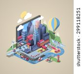 vector illustration with city... | Shutterstock .eps vector #299118251