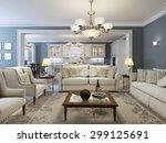 mediterranean living room trend.... | Shutterstock . vector #299125691