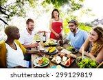 diverse people friends hanging... | Shutterstock . vector #299129819