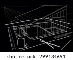 linear architectural sketch.... | Shutterstock .eps vector #299134691