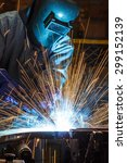 industrial steel welder in... | Shutterstock . vector #299152139