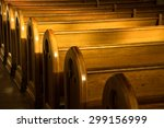A Row Of Church Benches.