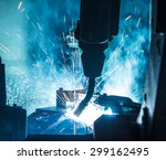welding robots movement in a... | Shutterstock . vector #299162495
