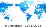 world map   america in center   Shutterstock .eps vector #299173715