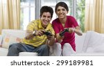brother and sister playing... | Shutterstock . vector #299189981