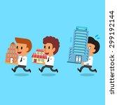 cartoon business team carrying... | Shutterstock .eps vector #299192144