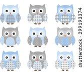 Stock vector cute blue and grey cute owl set 299193374