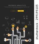 business analytics flat... | Shutterstock .eps vector #299195105