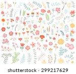 floral hand drawn vintage set.... | Shutterstock .eps vector #299217629