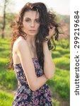 beautiful woman. portrait close ... | Shutterstock . vector #299219684