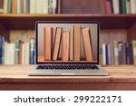 E Book Library Concept With...