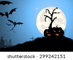 vector   bat trees and pumpkin... | Shutterstock .eps vector #299242151