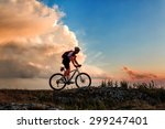 biker riding on bicycle in... | Shutterstock . vector #299247401