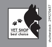 Stock photo  silhouettes of a cat and dog on the poster for veterinary shop 299270657