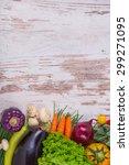 vegetables on wood background... | Shutterstock . vector #299271095