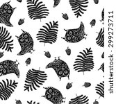 seamless pattern with owls and... | Shutterstock .eps vector #299273711