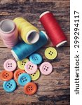 colorful sewing buttons with... | Shutterstock . vector #299294117