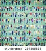 multiethnic casual people... | Shutterstock . vector #299305895