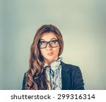 Stock photo portrait closeup funny confused skeptical woman girl female thinking with glasses looking up 299316314