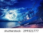 an old wooden fishing boat on a ... | Shutterstock . vector #299321777
