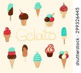 hand drawn vector ice cream...   Shutterstock .eps vector #299326445