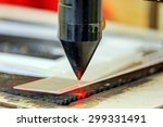 red laser on cutting machine in ... | Shutterstock . vector #299331491