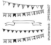 celebration flags and ribbon... | Shutterstock .eps vector #299338637