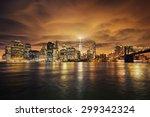 manhattan at sunset  new york... | Shutterstock . vector #299342324