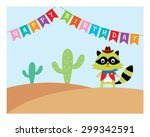 Cute Raccoon Cowboy In Desert...