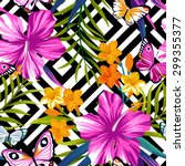 tropical floral pattern with... | Shutterstock .eps vector #299355377