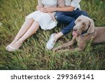 couple in wedding attire and... | Shutterstock . vector #299369141