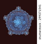 Abstract Fractal. Blue Pentagon.