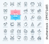outline web icon set. baby toys ...