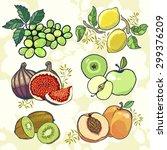 set of fresh juicy fruits on... | Shutterstock .eps vector #299376209