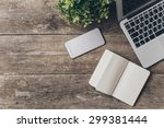 notebook and laptop on old... | Shutterstock . vector #299381444
