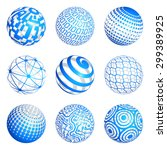 a set of 9 3d spheres vector... | Shutterstock .eps vector #299389925