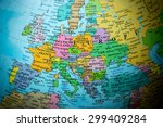 Map view of europe on a...