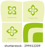 set of three logos with leaves... | Shutterstock .eps vector #299412209