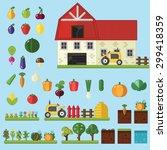 beds  trees flowers vegetables... | Shutterstock .eps vector #299418359