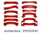 Vector Red ribbon banner flat collection. Vector frame with Place for your text.