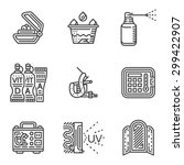 set of black line vector icons... | Shutterstock .eps vector #299422907
