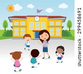 happy kids go to school.... | Shutterstock .eps vector #299458691