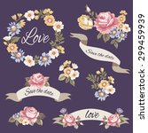 vector flowers set. vintage... | Shutterstock .eps vector #299459939