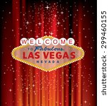 vector las vegas sign on red... | Shutterstock .eps vector #299460155