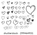 heart icons set  hand drawn... | Shutterstock .eps vector #299464931
