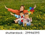 woman with kids having fun on... | Shutterstock . vector #29946595