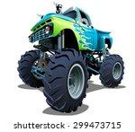 cartoon monster truck.... | Shutterstock .eps vector #299473715