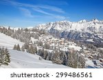 winter in the swiss alps ... | Shutterstock . vector #299486561