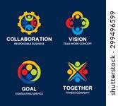 19 set of team work badge label ... | Shutterstock .eps vector #299496599