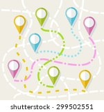 map  route  direction  path ... | Shutterstock .eps vector #299502551